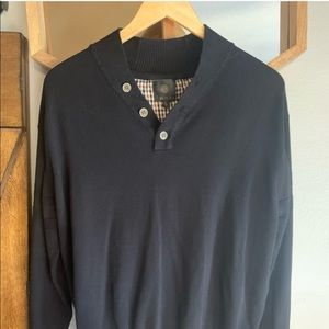 Fusion: Mens Sz. L, Black, Classic Button Sweater
